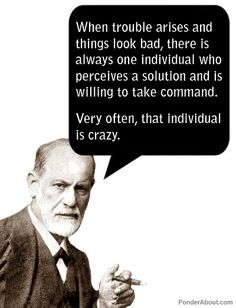 """When trouble arises and things look bad, there is always one individual who perceives a solution and is willing to take a command....Very often, that individual is crazy."" (Freud)"
