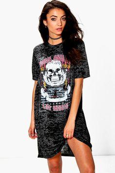 Tall Ruben Burnout Band Oversized T-Shirt Dress at boohoo.com