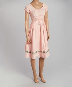 Look at this Pink Lace-Front V-Neck Dress on #zulily today!