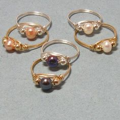Free Wire Jewelry Designs | Wire Wrapped Cultured Pearl Rings | Gemtwists - Jewelry on ArtFire