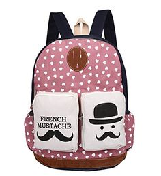 Fansela(TM) French Mustache Fashion Style Cute Designer High Quality Canvas Bag Backpack School Bags For Teen Girls (Pink)