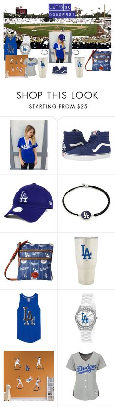 """""""let's go dodgers!"""" by jaz-melendrez ❤ liked on Polyvore featuring Vans, New Era, Alex and Ani, Dooney & Bourke, The Memory Company, Game Time, Fathead, Majestic and sporty"""