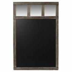 """Hanging chalkboard with rustic wood frame and mirror accents.   Product: ChalkboardConstruction Material: Wood, chalkboard and mirrored glassColor: Black and vintage brown Dimensions: 40"""" H x 32"""" W x 1.5"""" D Cleaning and Care: Dry wipe clean with cloth"""