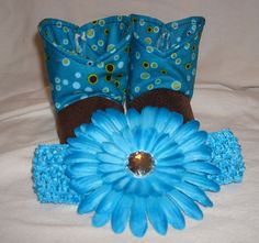 Baby Booties and a Big Flower headband! by RusticAttitude on Etsy