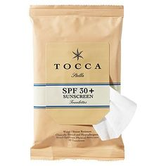 Tocca SPF 30 Towelette Multi-Pack by Tocca. $24.00. Tocca Beauty Multi-Pack SPF 30+ Towlettes are water and sweat resistant, broad spectrum sunscreen towellettes that come in a re-sealable package. The gentle, hypoallergenic towelettes have a mild citrus scent and are enriched with vitamins E, B5, aloe and marine silk.