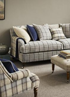 The collection from comprises of window-pane and designs, available in seven co-ordinating colour sets.Each product is spun together in a warm combination of yarns that combine a viscose chenille warp with an unusual weft yarn of and New Living Room, Living Room Sofa, Home And Living, Chesterfield, Plaid Sofa, Sofa Design, Interior Design, English Decor, Fabric Sofa