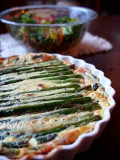 Spring No Crust Asparagus Quiche with Cottage Cheese Recipe
