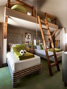 Cozy transitional kids bedroom design with bedroom ideas for boys and twin beds plus free carpeting