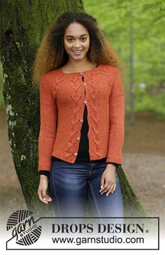 Jacket with leaf pattern and raglan, knitted top down. Size: S - XXXL Piece is knitted in DROPS Alpaca. Free knitting pattern by DROPS Design. Ladies Cardigan Knitting Patterns, Knit Cardigan Pattern, Knitting Patterns Free, Knit Patterns, Free Knitting, Free Pattern, Drops Design, Cardigan Design, Alpacas