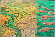San Joaquin Merced Revival map art quilt by Linda Gass. San Joaquin Merced is part of a series about confluences of bodies of water that no longer exist due to human impact. This is the confluence of the San Joaquin and Merced rivers paired with Chinook salmon, a species endangered by the disappearing confluence.