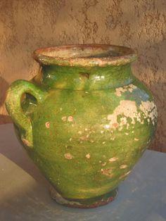 Old Distressed FRENCH CONFIT POT Green Glaze 19th Missing 1 handle Pot à Graisse Graissier