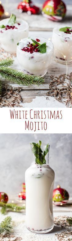 White Christmas Mojito This drink is simple as can be and perfect for all your holiday parties. The post White Christmas Mojito appeared first on Getränk. Party Drinks, Cocktail Drinks, Cocktail Recipes, Alcoholic Drinks, Beverages, Party Snacks, Cocktail Ideas, White Cocktails, Bourbon Drinks