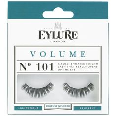 Eylure False Eyelashes Naturalites 101 - 6001115 - A full, shorter length lash that really opens up the eye. Eylure Naturalites strip lashes enhance the natural