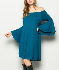 Take a look at this Teal Off-Shoulder Dress today!
