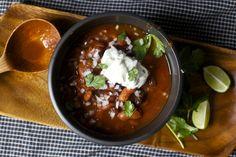three-bean chili from Smitten Kitchen: easy to make vegetarian or vegan