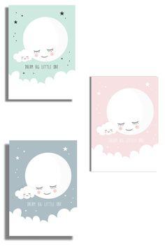 Maan babykamer posters. Babykamer mint, roze of blauw? #maan #maanposter #rozebabykamer #mintbabykamer #nurseryposter