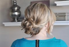 Deep-parted messy updo tutorial.  I guess I should finally learn to do something with my hair, since I'm a grownup or something... :\