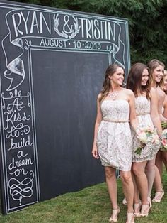 Great DIY wedding idea! Paint a piece of wood with chalkboard paint and you've got a cute personalized back drop for photos!! :))))