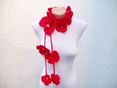 Hand crochet Lariat Scarf  Red  Flower Lariat Scarf  Long Necklace Holiday Accessories by scarfnurlu on Etsy https://www.etsy.com/listing/60377235/hand-crochet-lariat-scarf-red-flower