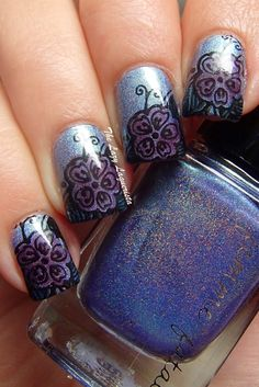 Leadlighting, nail stamping, nail art  Femme Fatale Ink Of The Sea, Moyou London Pro Plate XL 06, China Glaze Liquid Leather, Zoya Katherine, Zoya Frida