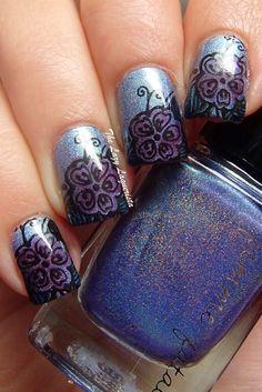 Leadlighting, nail stamping, nail art  Femme Fatale Ink Of The Sea, Moyou London Pro Plate XL 06, China Glaze Liquid Leather, Zoya Katherine, Zoya Frida