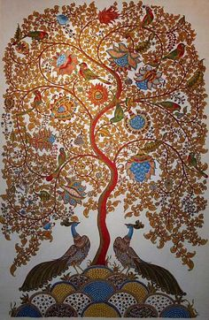 Tree of Life 'Kalamkari' painting. The 3000 yr old ancient art of painting on fabric using colors derived from plant roots and vegetables. Tree Of Life Art, Tree Art, Tree Of Life Painting, Indian Art Paintings, Abstract Paintings, Oil Paintings, Ancient Indian Paintings, Abstract Oil, Indian Art Gallery