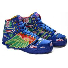 sports shoes 53346 dc57c Adidas Shoes High Tops Blue Floral Embroidery Shoes with Wings x Jeremy  Scott Dragon Con,