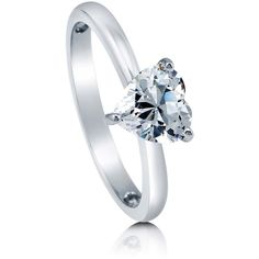 BERRICLE Sterling Silver CZ Solitaire Heart Promise Engagement Wedding... ($45) ❤ liked on Polyvore featuring jewelry, rings, clear, women's accessories, heart engagement rings, cubic zirconia rings, heart shaped engagement rings, anniversary rings and sterling silver heart ring
