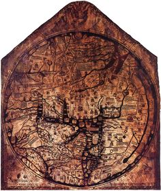 The Hereford Mappa Mundi is the largest intact Medieval wall map in the world and its ambition is breathtaking – to picture all of human knowledge in a single image. The work of a team of artists, the world it portrays is overflowing with life,. Antique Maps, Vintage Maps, European History, Ancient History, Hereford Cathedral, Medieval World, Medieval Books, Medieval Times, Arte Tribal