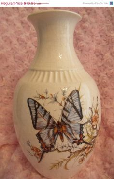 12 Inch Blue Monarch Butterfly Vase with Dogwood by ConfuciusKitty, $10.17