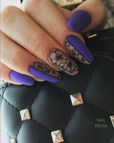 32 идеи в самых разнообразных техниках – Novuyden.com Manicure Nail Designs, Fall Nail Art Designs, Nail Manicure, Gel Nails, Lace Nails, Flower Nails, Pretty Nail Art, Dream Nails, Purple Nails
