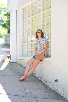 4th of july outfit ideas, striped tee outfits - @mystylevita