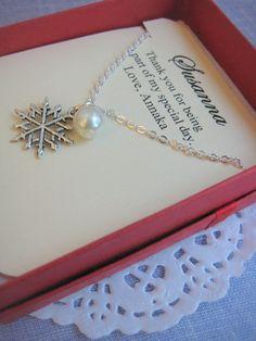 Snowflake Winter wedding Ask Bridesmaids Bridal by buysomelove, $12.50 bridesmaids gift