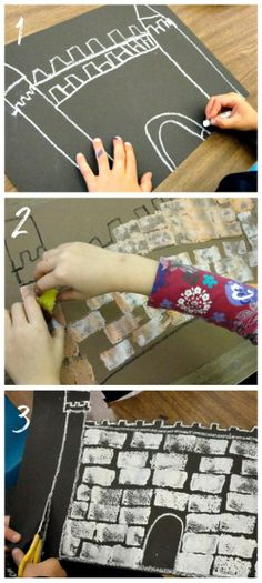 - could use sponge painting for bricks on class castle. Castle Art Tutorial for Fairy Tale Unit: cute art project for students