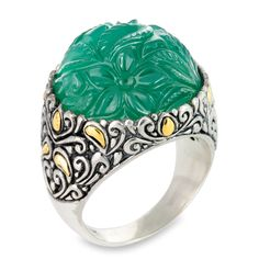 Carved Green Onyx Sterling Silver Ring with 18K Gold Accents | Cirque Jewels