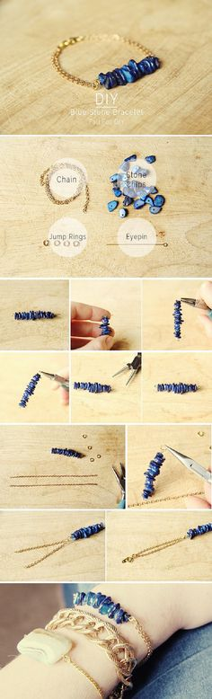 16 Instructions for Pretty Bracelets - Pretty Designs - DIY Blue Stone Bra . - 16 patterns for pretty bracelets – pretty designs – DIY blue stone bracelet – love all 3 of t - Wire Jewelry, Jewelry Crafts, Beaded Jewelry, Jewelery, Jewelry Bracelets, Handmade Jewelry, Diy Jewellery, Jewelry Ideas, Bracelets Crafts