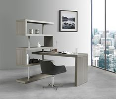 Brayden Studio Waxman L-Shape Credenza desk with Bookcase Color: Matte Grey Computer Desk With Hutch, Desk Hutch, Desk Shelves, Shelf, Modern Office Desk, Office Desks, Contemporary Desk, Best Desk, L Shaped Desk