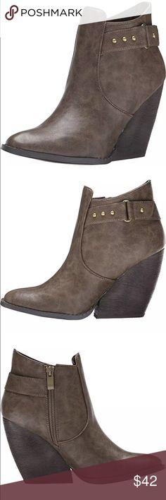 1ceb81050f0 Brown Buckle Studded Wedge Booties! NEW! Hot 🔥 brown wedge booties