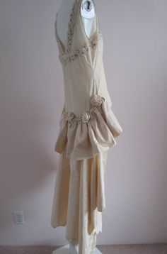 Gorgeous 1920s Water Silk Cream Wedding Dress Roses, Beading