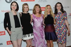 """The ladies of MASTERPIECE """"Downton Abbey, Season 4"""" look stunning at the TCA Press Tour in LA. Pictured: Michelle Dockery, Laura Carmichael, Phyllis Logan, Joanne Froggatt and Sophie McShera. (photo: Rahoul Ghose/PBS)"""