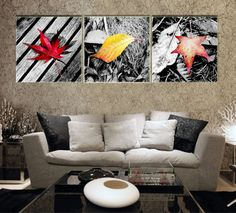 Aliexpress.com : Buy PF3162 Printed & Internal Framed 3 panel oil painting on canvas wall art pictures Maple leaves of fall home decorati living room from Reliable painting wooden kitchen doors suppliers on Art of Fire  | Alibaba Group