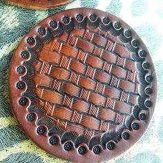 Leather coasters handstamped basketweave by CoyoteWindCreations