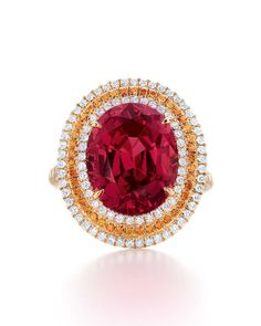 Tiffany & Co. 2014 Blue Book Collection red spinel ring with spessartite garnets and white diamonds set in yellow gold Jewelry 2014, Book Jewelry, Red Jewelry, High Jewelry, Jewelry Collection, Jewelry Rings, Book Collection, Jewellery Box, Bridal Jewelry