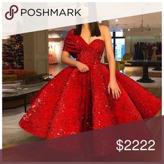 Sparkling Red Sequin Ball Gown Prom Dresses with One Shoulder Tea Length Puffy Arabic Formal Evening Gowns, Shop plus-sized prom dresses for curvy figures and plus-size party dresses. Ball gowns for prom in plus sizes and short plus-sized prom dresses for Ball Gowns Prom, Ball Dresses, Homecoming Dresses, Pageant Gowns, Gala Gowns, Women's Dresses, Dresses Online, Elegant Dresses, Pretty Dresses