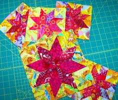 Lemoyne Stars in Kaffe Fassett. After today I may be warming to Kaffe Fassett.