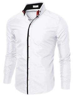 e81150cd65 Mens Slim Fit Shirts With Double Collar  doublju Casual Shirts For Men