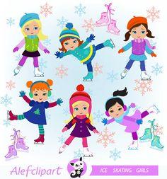 Winter Ice Skating Clipart Girls Bundle from Sandydigitalart on…