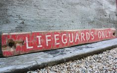 Rustic Sign Distressed Lifeguards Only Nautical Beach Wood by TheUnpolishedBarn