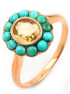 Ring with turquoises and citrines, 1850/60s, RoseG 585/000, manufacturer's brand unidentified, engraved, 1 turquoise flawed, ringsize 60.5