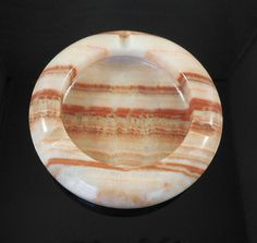 "01B Marble Rustic Reddish Brown and White Onyx Banded Stone Ashtray 5"" Round"